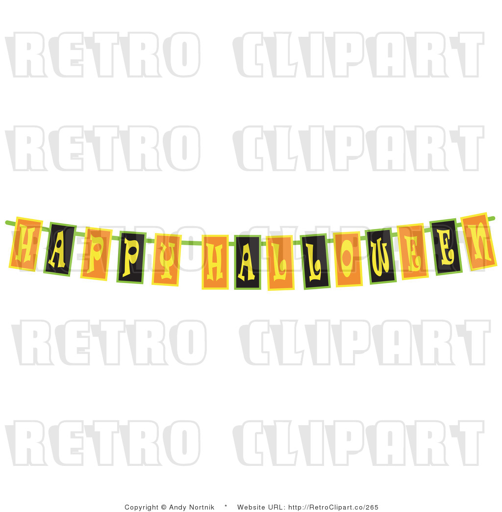 Retro Royalty Free Happy Halloween Banner Sign Vector Clipart by Andy ...