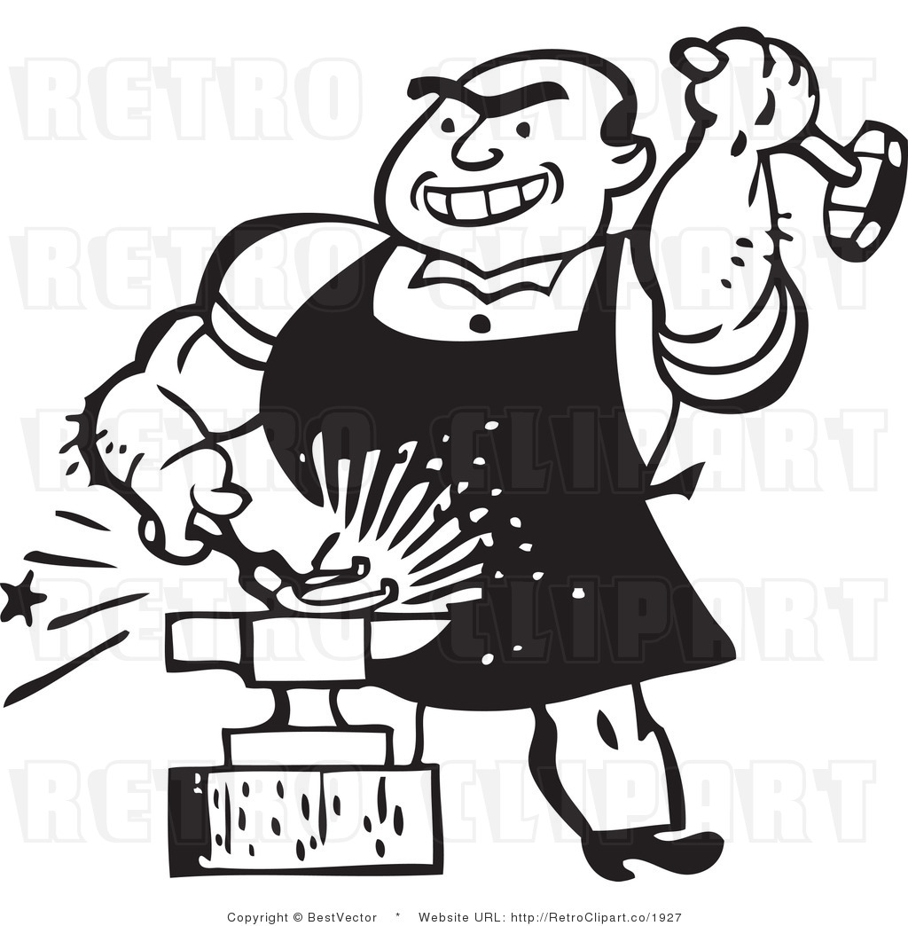Vector clip art of a blacksmith retro clip art bestvector
