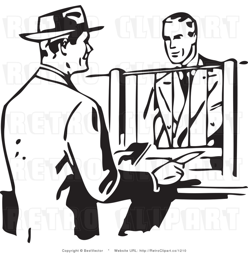 Royalty free black and white retro vector clip art of a businessman