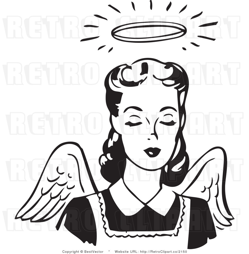 White Retro Vector Clip Art of a Female Angel with Wings and a Halo