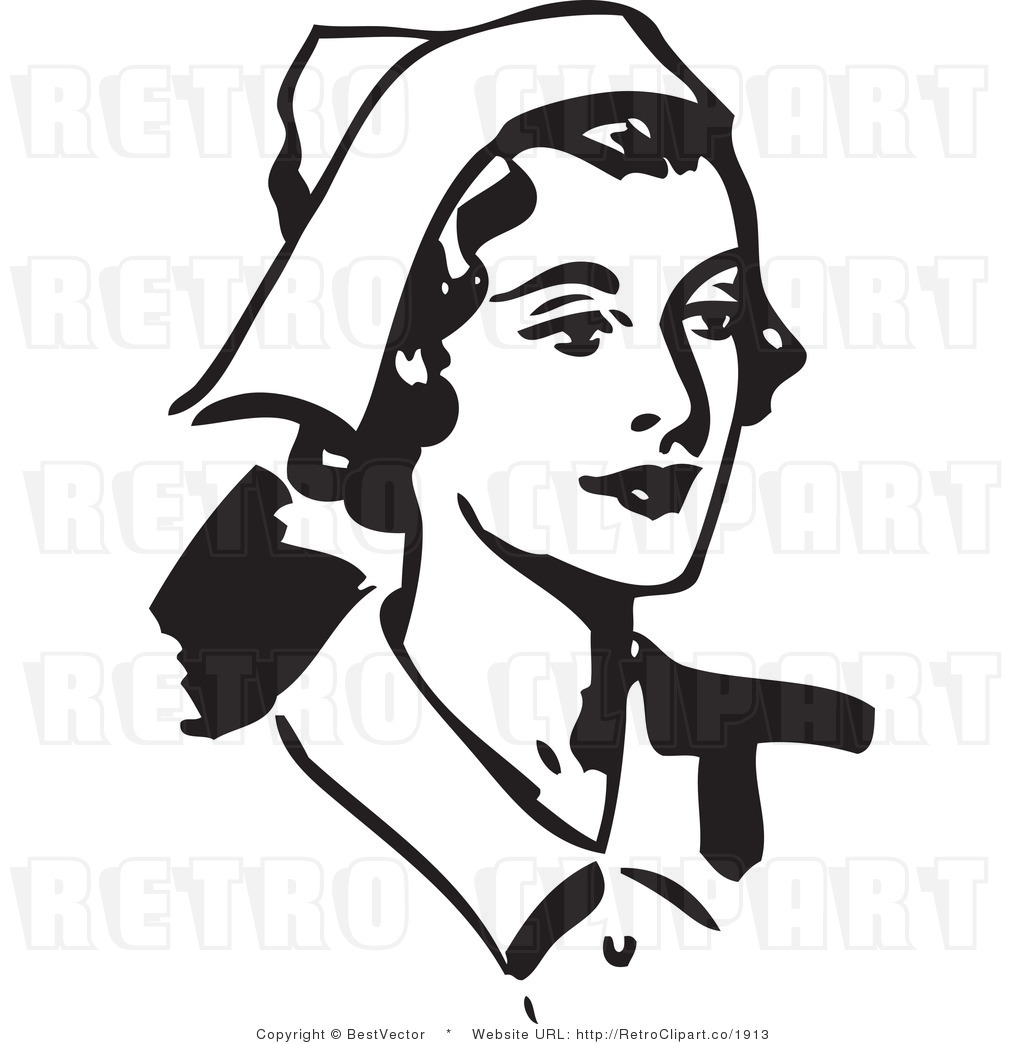 Clip art of a happy nurse retro clip art bestvector