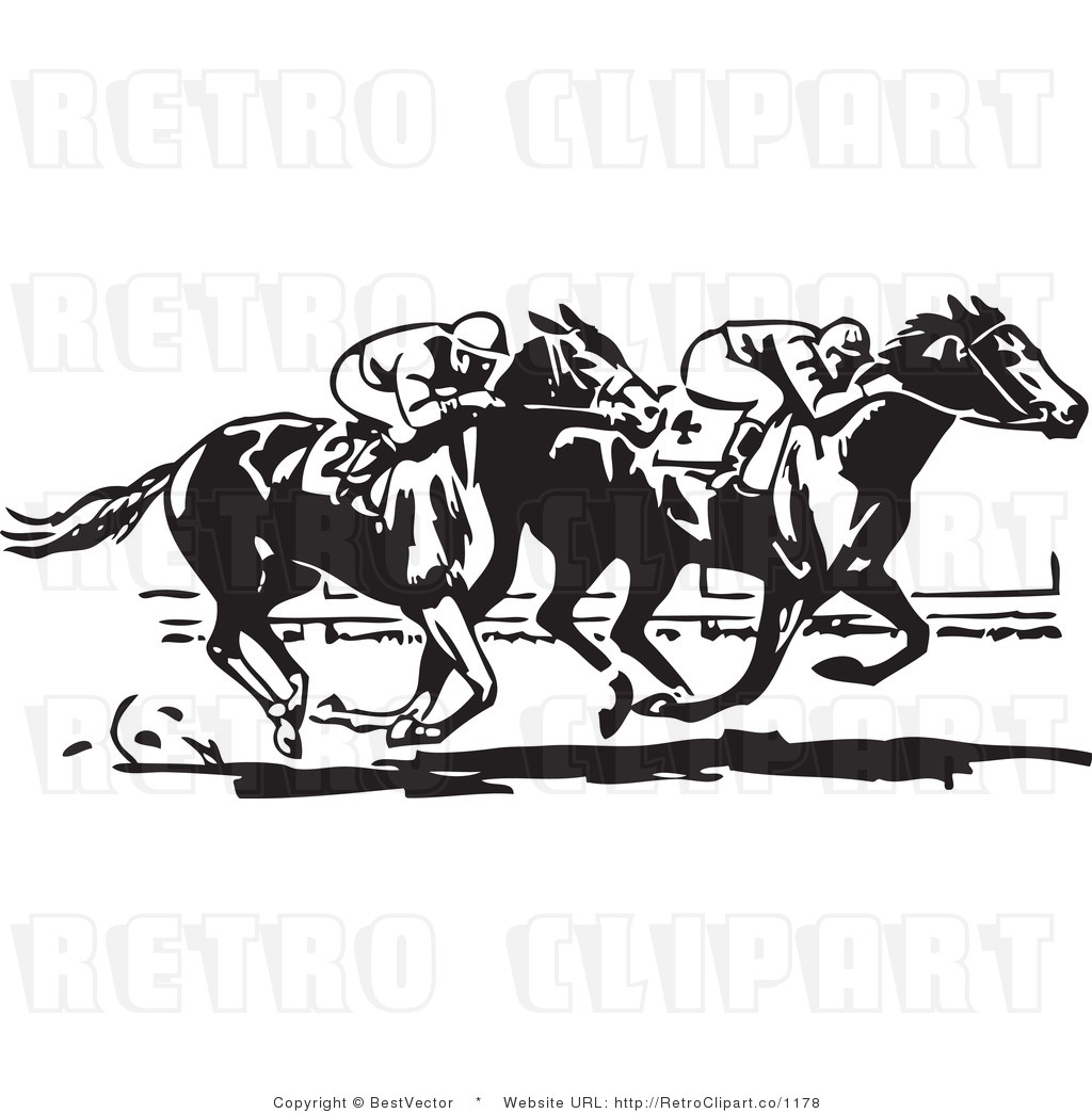 And White Retro Vector Clip Art Horse Race Bestvector
