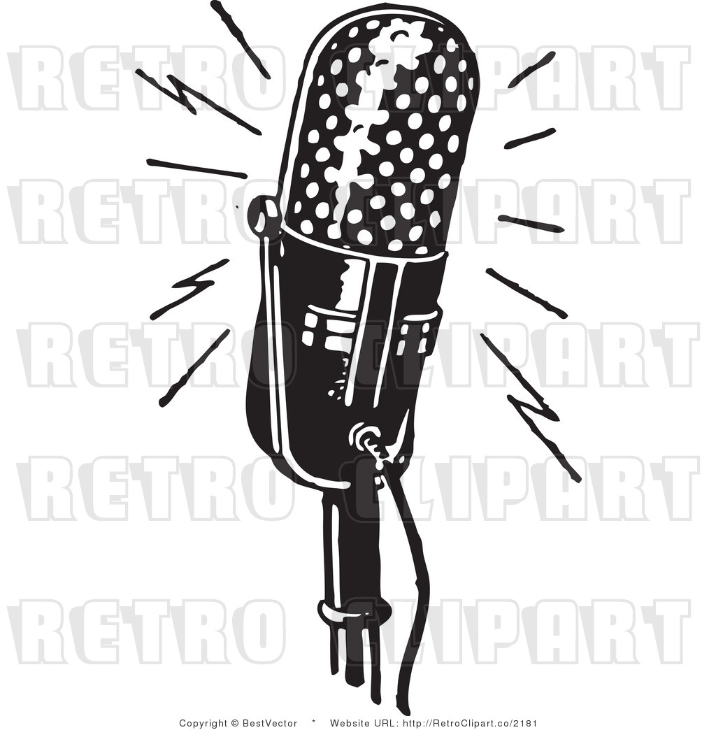 Royalty Free Black and White Retro Vector Clip Art of a Microphone