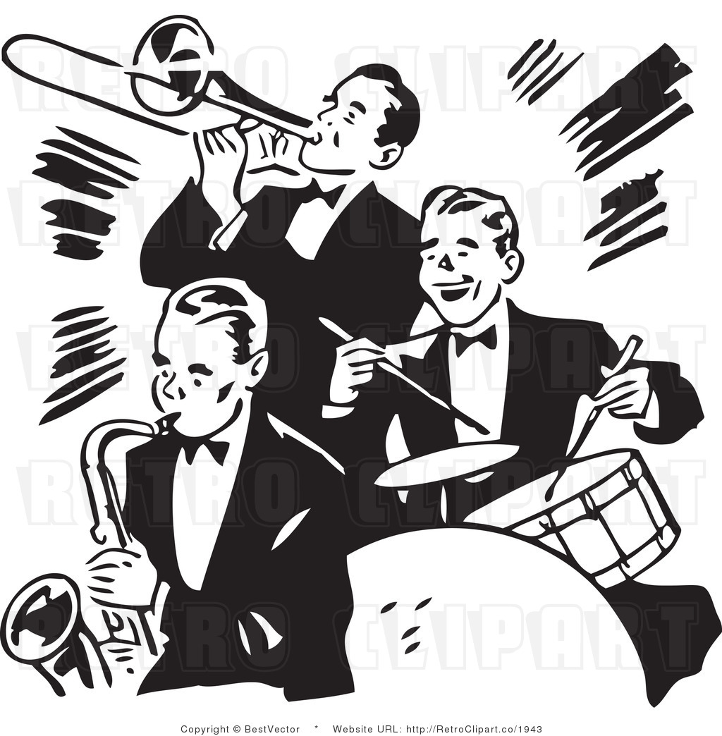 Royalty free black and white retro vector clip art of a music band