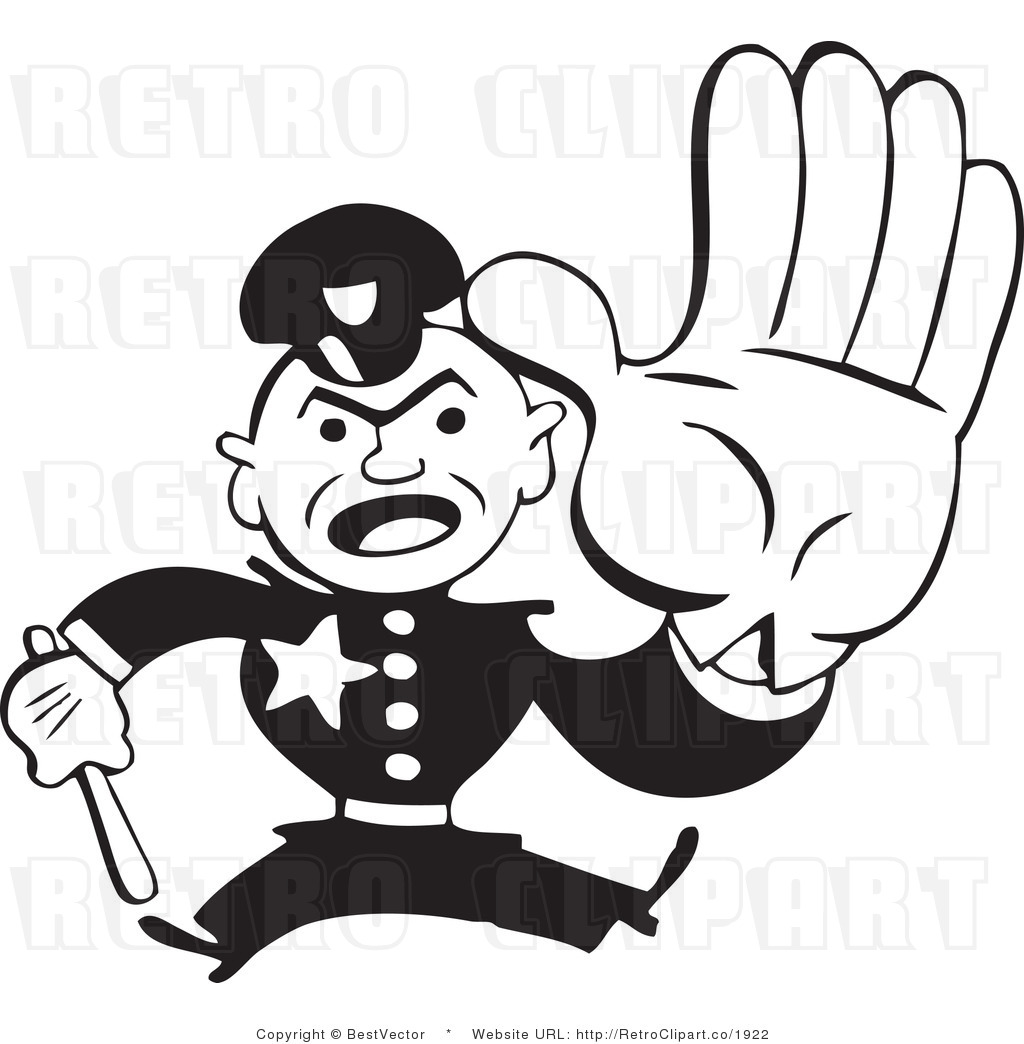 Free black and white retro vector clip art of a police man stopping