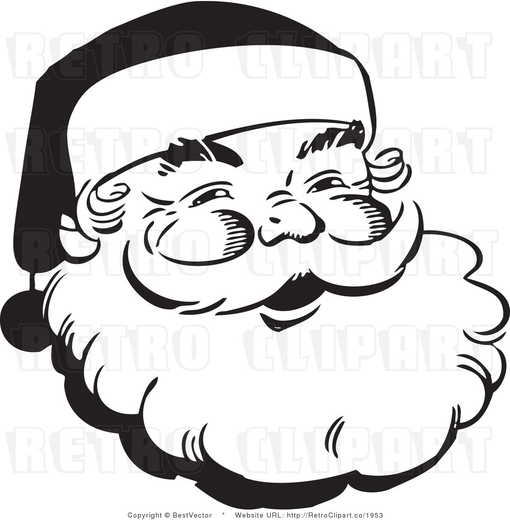 Free Blackline Clip Art Of Santas Face | New Calendar Template Site