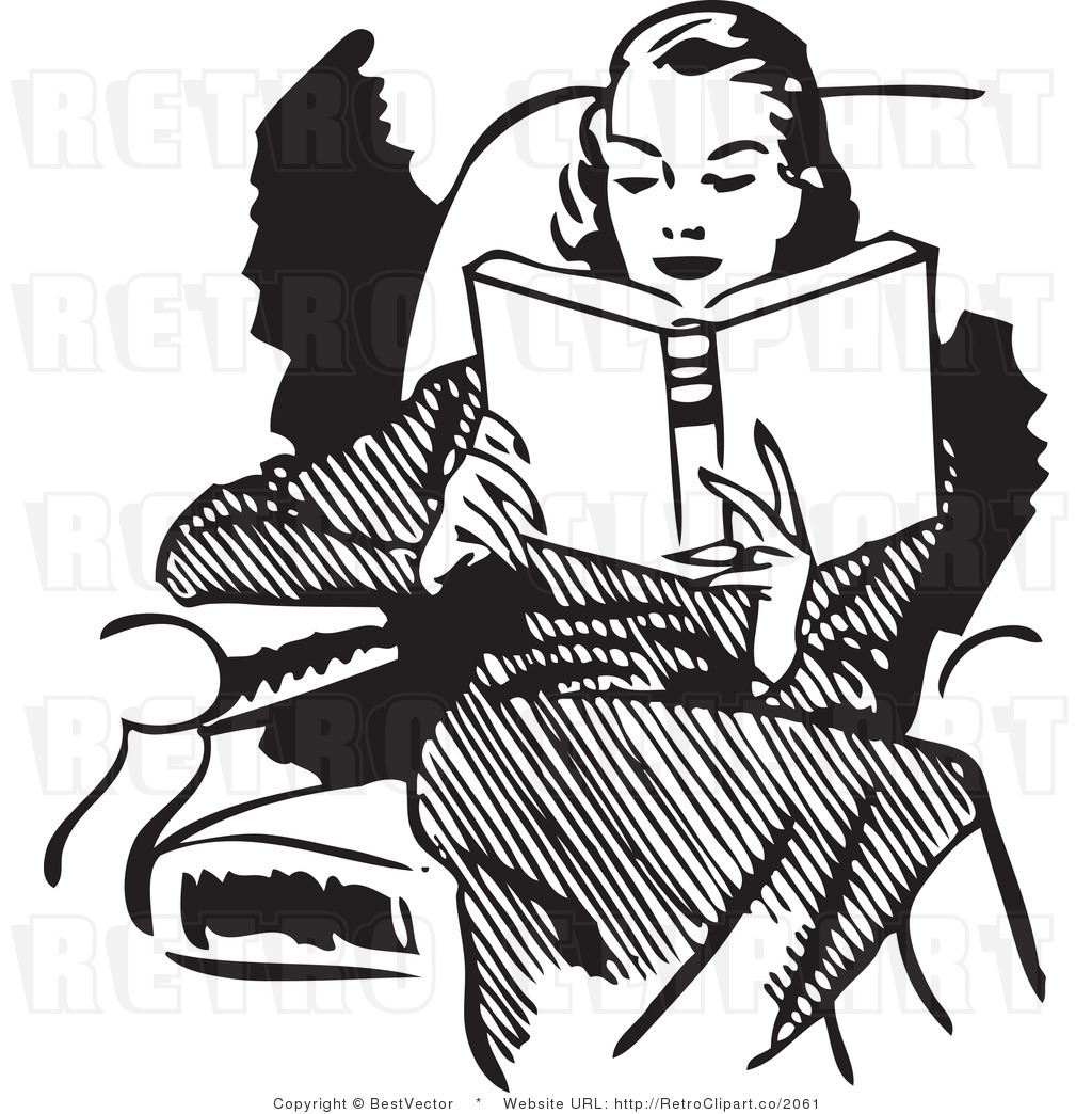 Royalty Free Black and White Retro Vector Clip Art of a Woman Reading ...