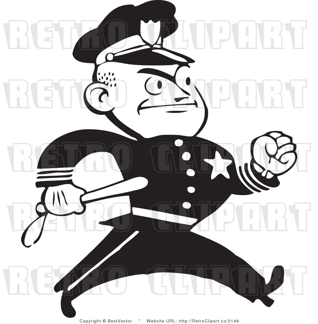 Art of an angry police man retro clip art bestvector