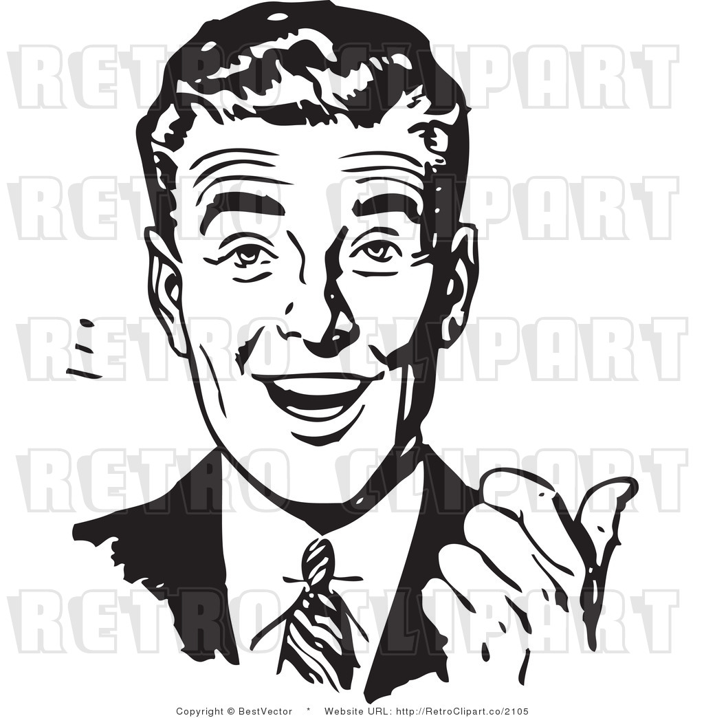 Free Black and White Retro Vector Clip Art of an Excited BusinessmanExcited Person Clip Art Black And White