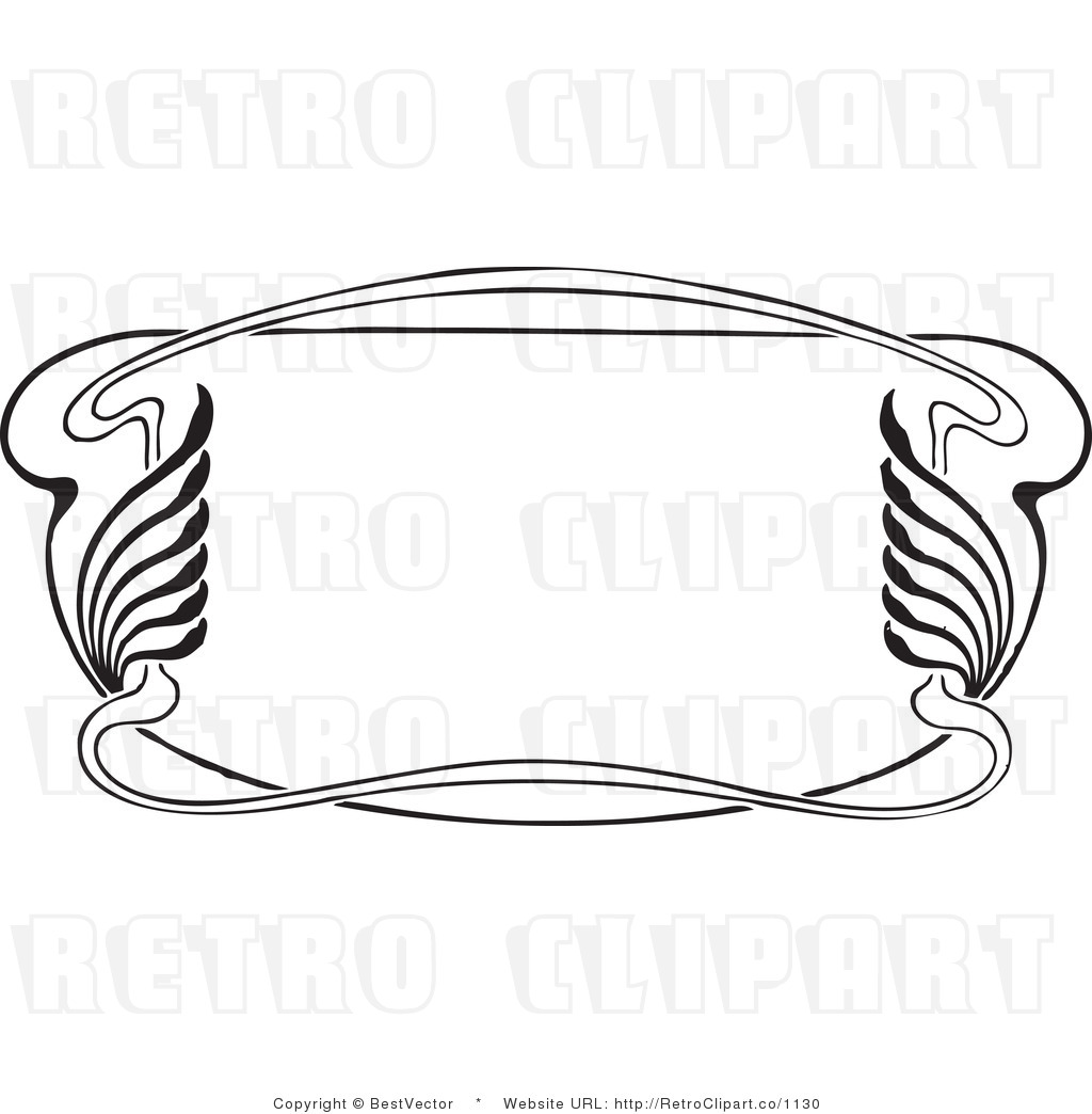 Free black and white retro vector clip art of an ornate art deco frame