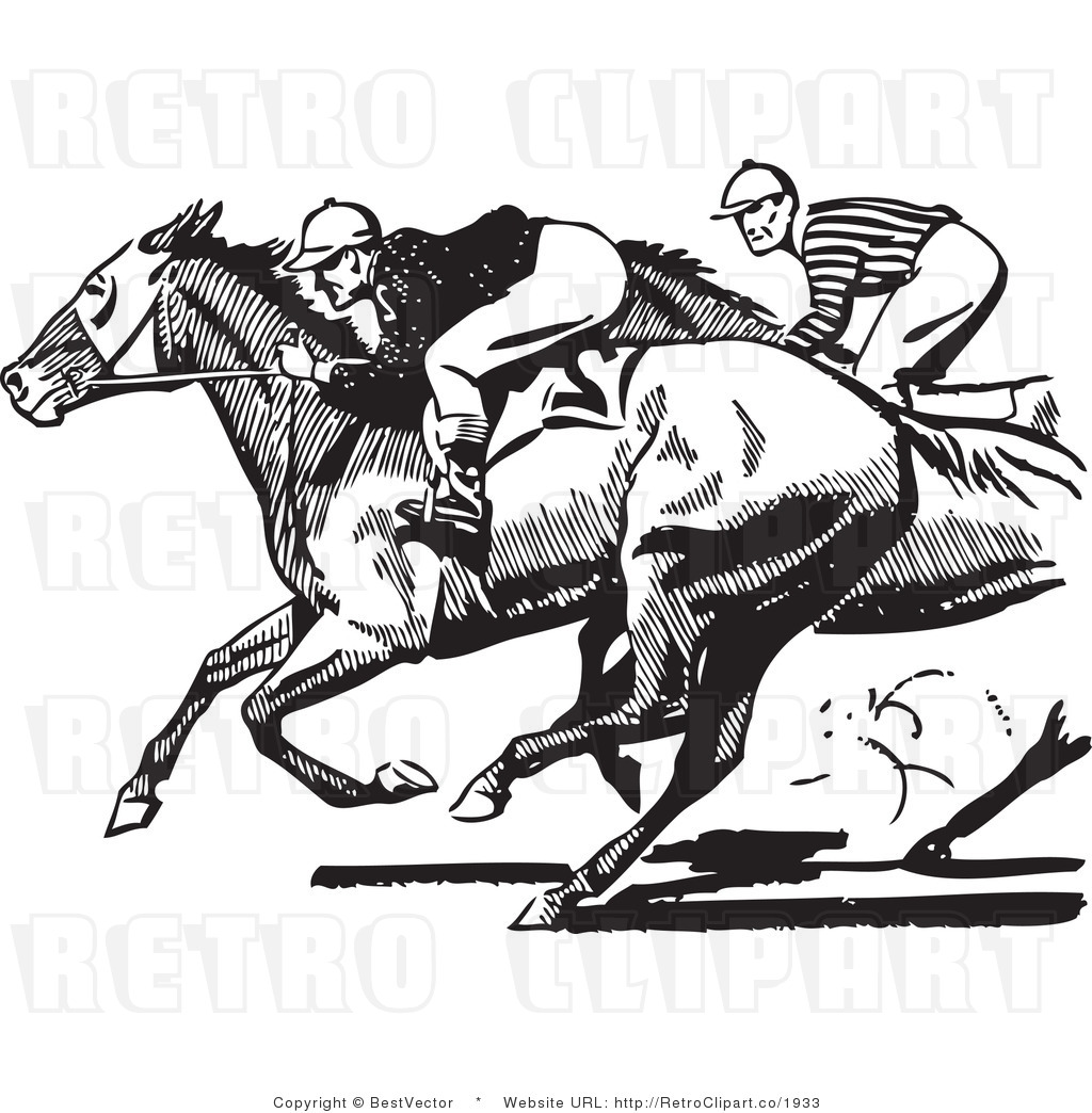 White Retro Vector Clip Art Racing Jockeys Bestvector