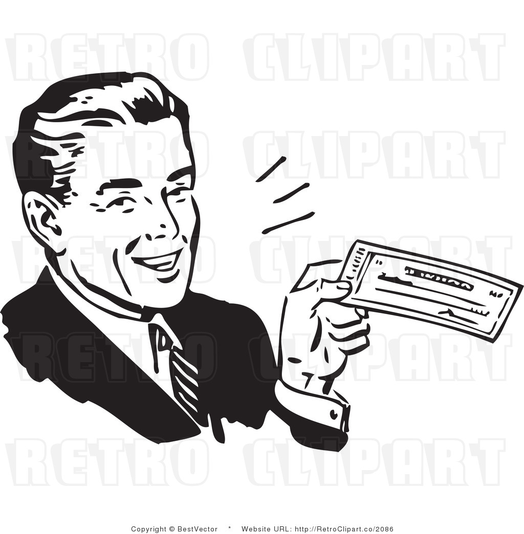Royalty free black and white vector retro clip art of a happy