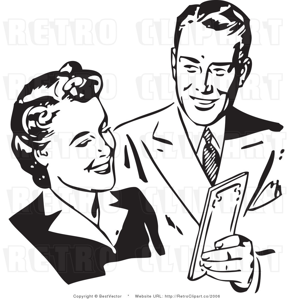royalty free black and white vector retro clip art of a happy man and woman discussing money by bestvector 2006 June 25, 2011 at 10:22 pm · Filed under Adult, Amateur, Interracial, teen
