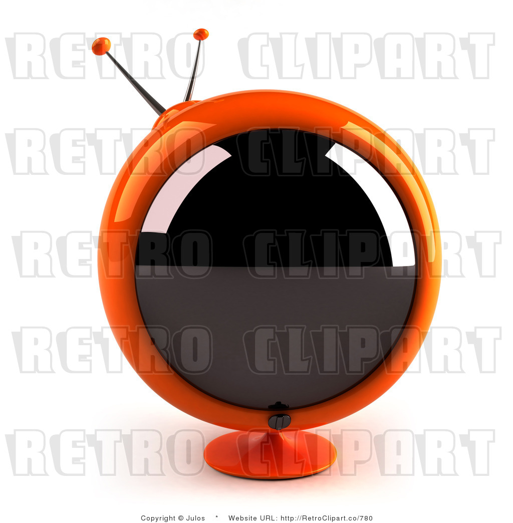 Royalty-free (rf) retro clipart illustration of 3d orange round tv ...