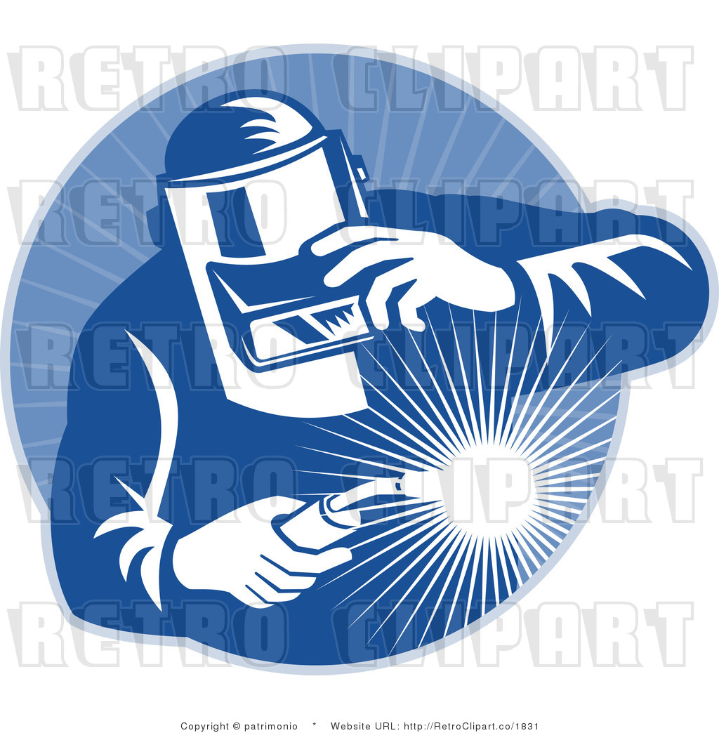 Welding Logos Free Royalty free retro blue welder