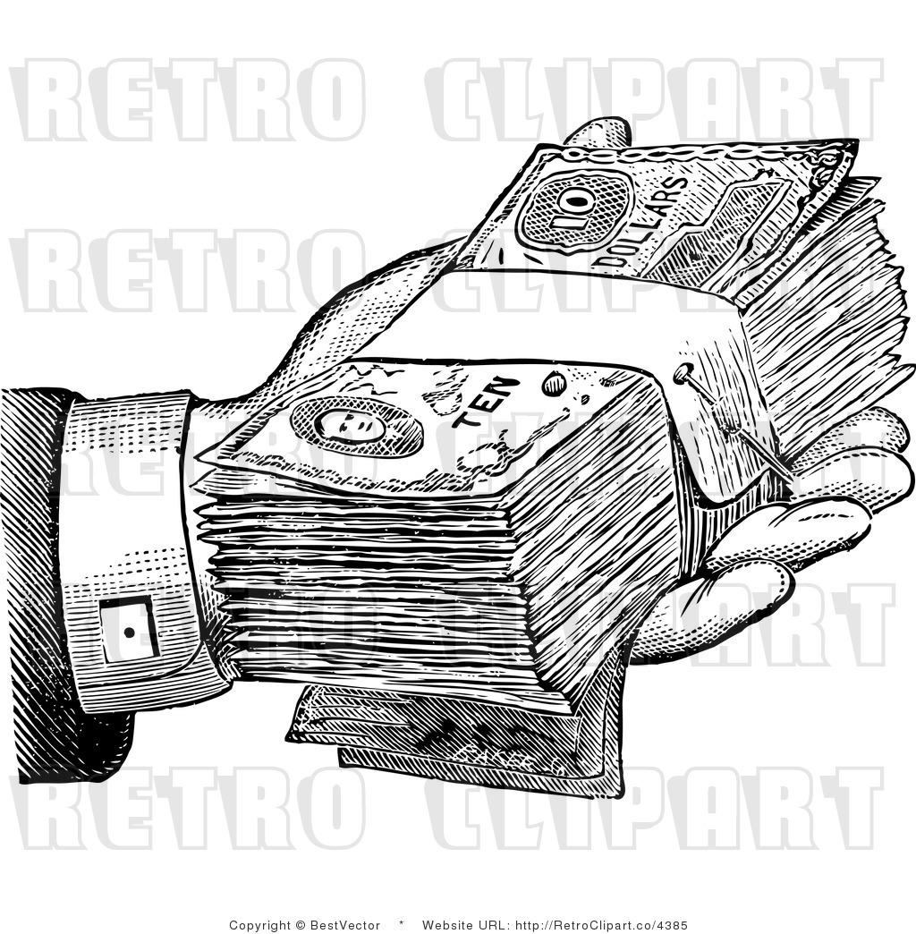 Royalty-free (rf) retro clipart illustration of hand holding cash