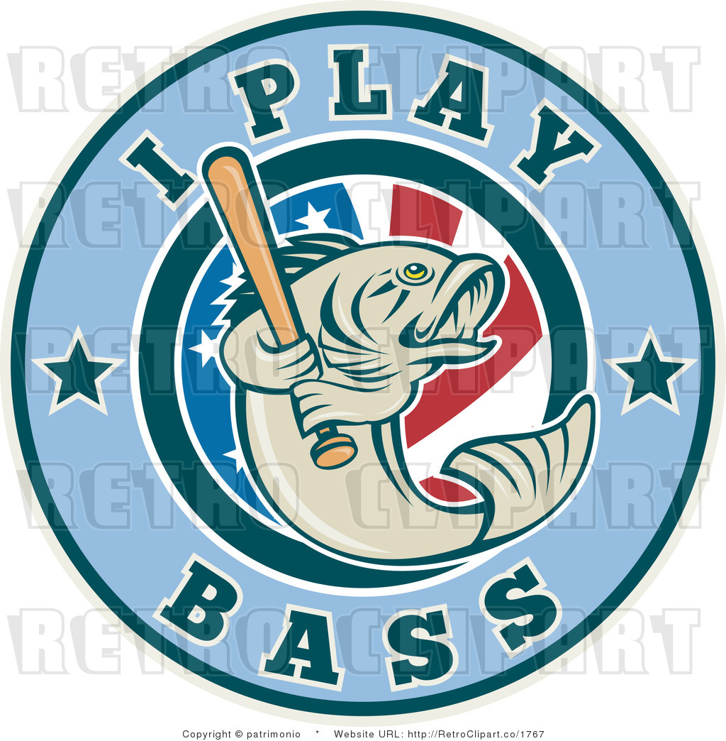 Bass Boat Clip Art http://retroclipart.co/design/royalty-free-retro-i-play-bass-text-around-a-fish-holding-a-baseball-bat-over-an-american-flag-by-patrimonio-1767