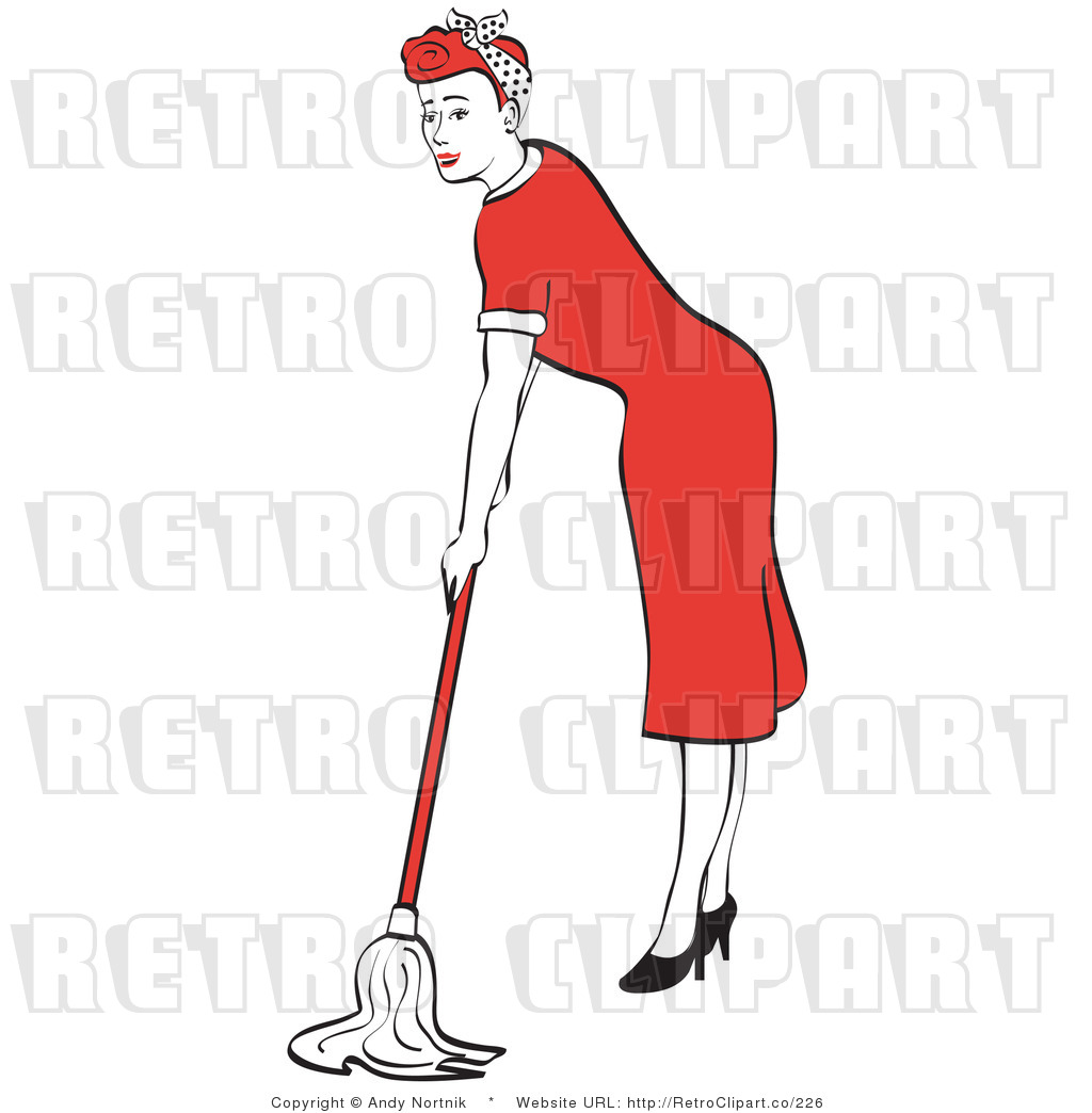 1950's Housewife or Maid Mopping Dirty Floors While Wearing a Red Dress and ...