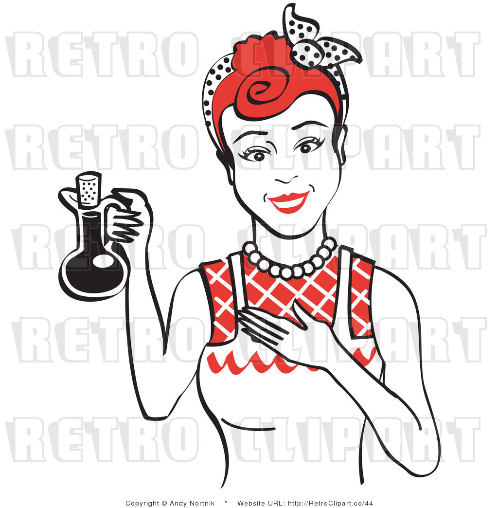 Royalty Free Vector Retro Clip Art of a 1950's Housewife ...