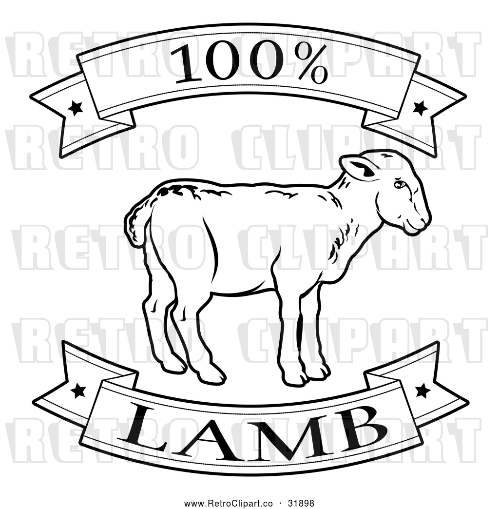 Vector Clip Art of Retro 100 Percent Lamb Food Banner ...