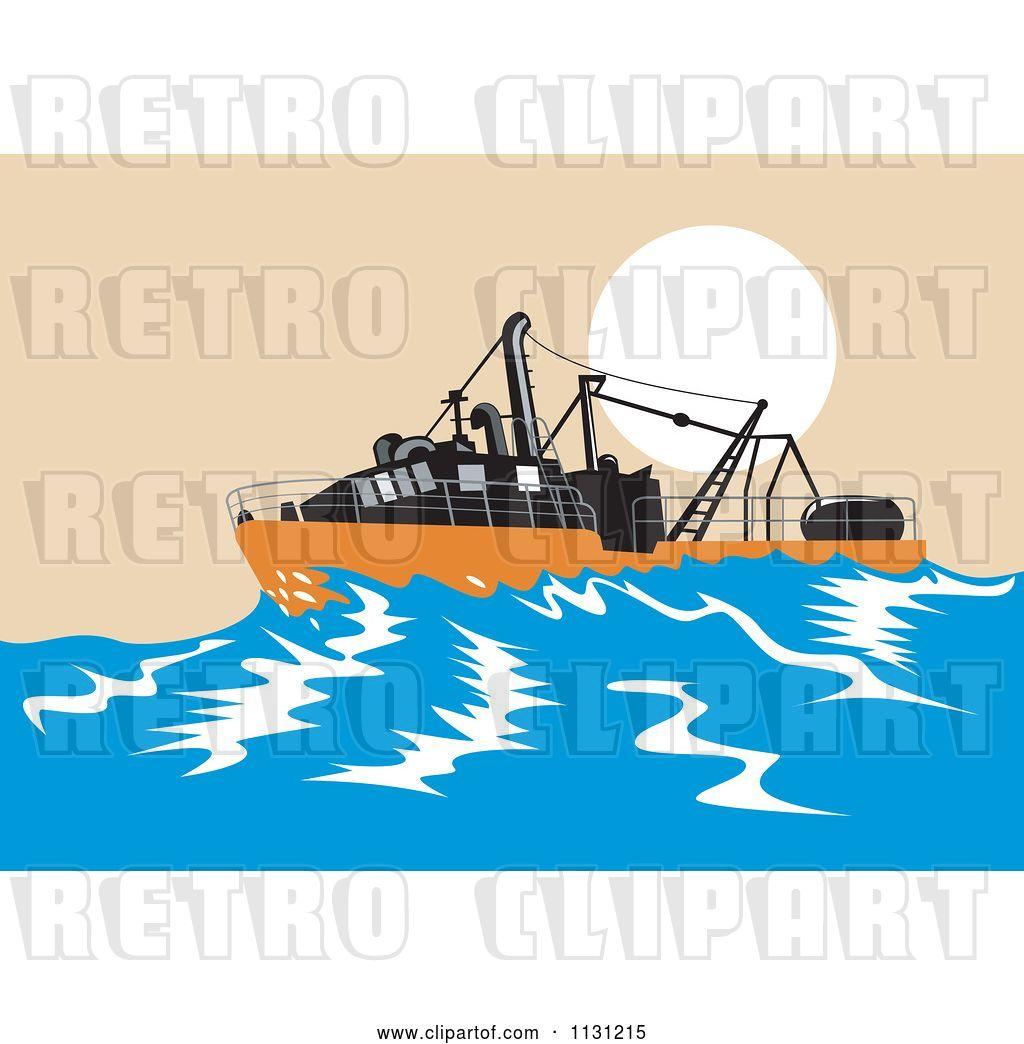 Vector Clip Art Of Retro Cartoon Sinking Fishing Boat At Sea By Patrimonio 35488