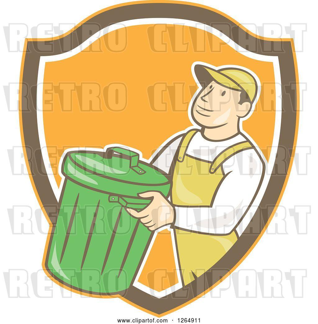 Vector Clip Art of Retro Cartoon White Male Garbage Guy ...
