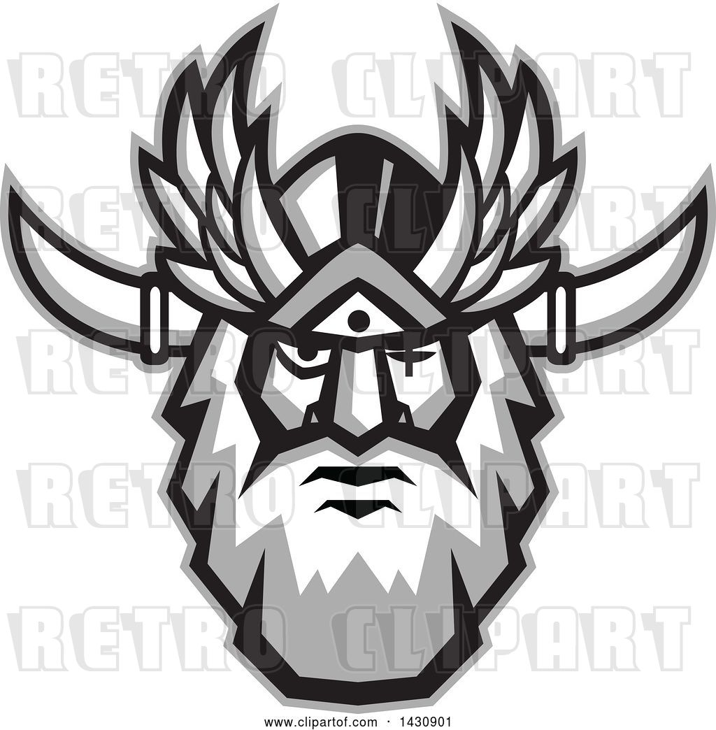 Vector Clip Art Of Retro Face Of Odin With A Beard And