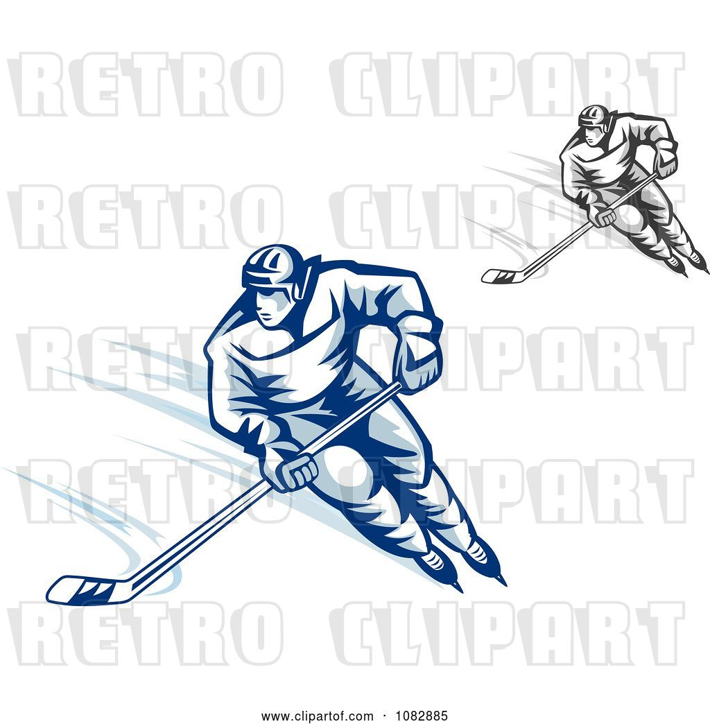 Vector Clip Art of Retro Grayscale and Blue Hockey Players ...