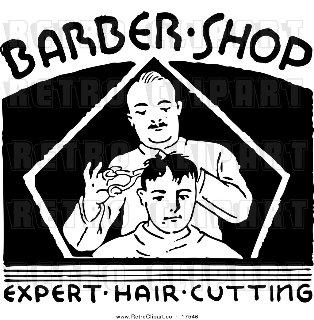 Barber Clipart Vector Clipart of a Black and