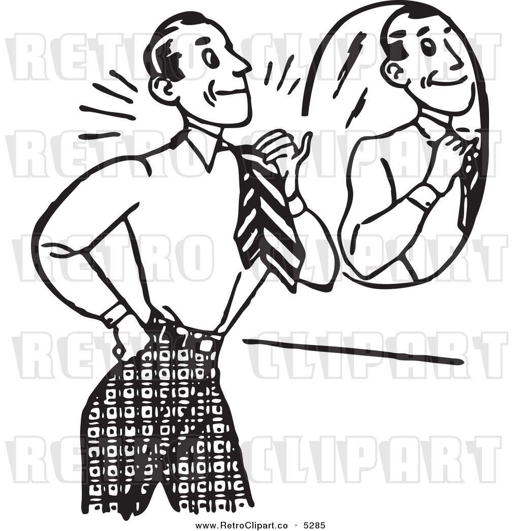 Black And White Retro Gentleman Adjusting His Tie In Front Of A Mirror