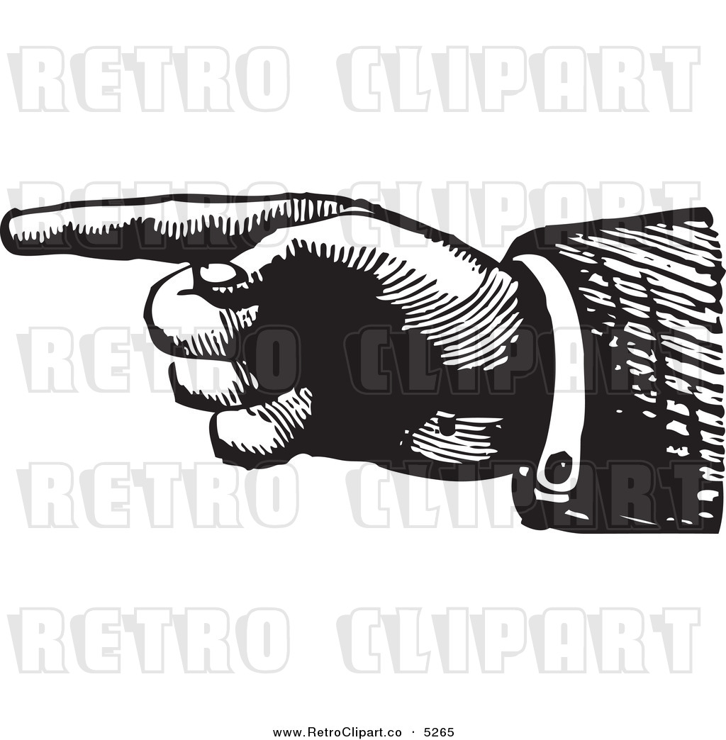 Finger Pointing Left Clip Art Vector clipart of a black and