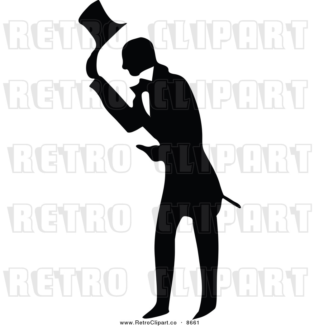 Vector Clipart of a Retro Black and White Bowing Gentleman by Prawny ...