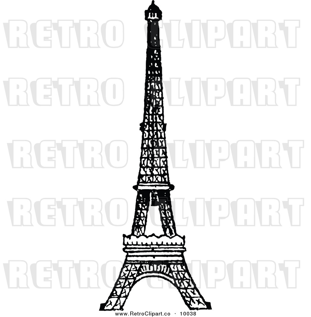 Eiffel Tower Black And White Drawing Retro Black And White Eiffel