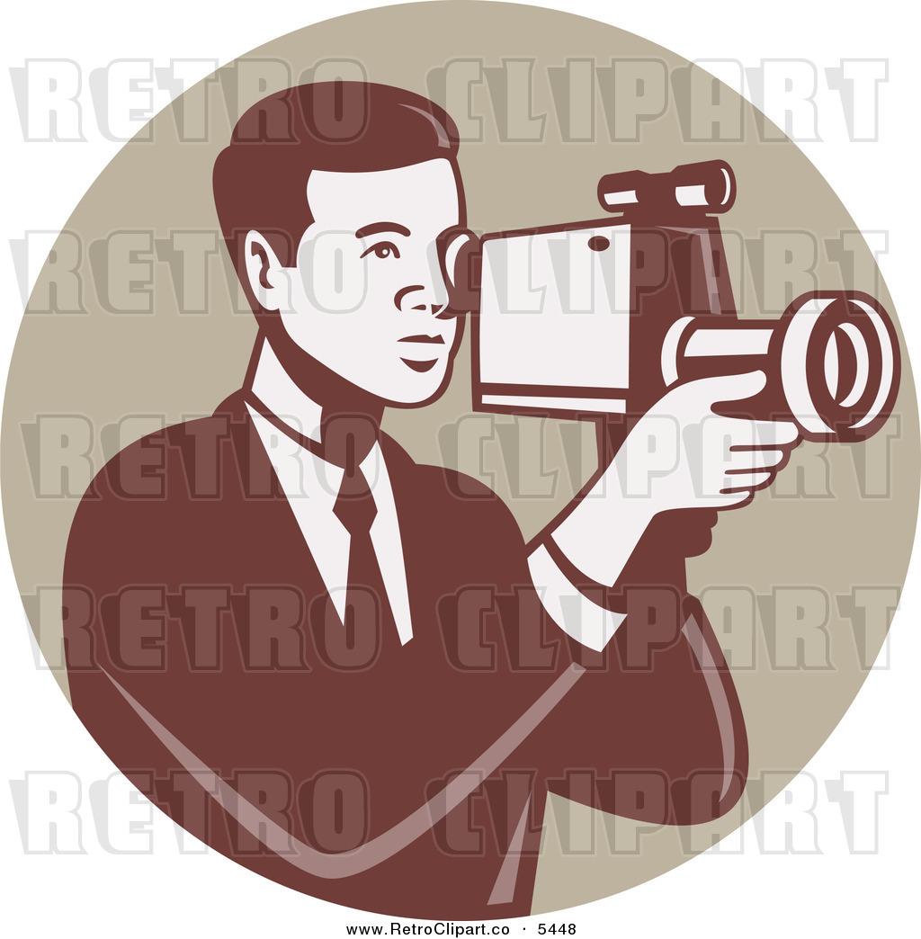 Video Recorder Vector Man Using a Video Recorder