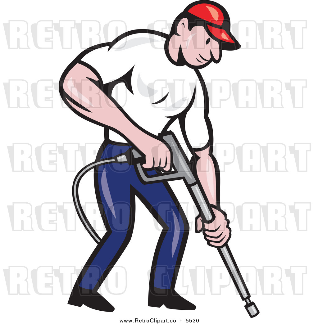 Vector Clipart of a Retro Pressure Washer Worker by patrimonio - #5530