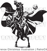 Black and White Headless Horseman on a Horse Retro Royalty Free Vector Clipart by Lawrence Christmas Illustration