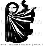 Black and White Vampire and Full Moon Retro Royalty Free Vector Clipart by Lawrence Christmas Illustration