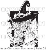 Black and White Witch Stirring a Skull in a Cauldron Retro Royalty Free Vector Clipart by Lawrence Christmas Illustration