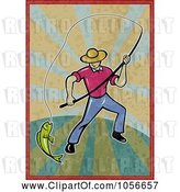 Clip Art of Fly Fisher Man Pulling in a Catch on Grungy Rays by Patrimonio
