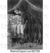 Clip Art of Nurturing Mother Tucking a Child in to Bed, in by Picsburg