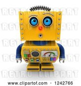 Clip Art of Retro 3d Amazed Yellow Robot Looking Upwards by Stockillustrations