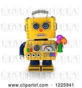 Clip Art of Retro 3d Apologetic Yellow Robot Holding Flowers by Stockillustrations