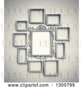 Clip Art of Retro 3d Arranged Blank Frames on a Wall by Mopic