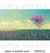 Clip Art of Retro 3d Autumn Maple Tree in a Flat Grassy Green Valley with a Effect by KJ Pargeter