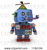 Clip Art of Retro 3d Blue Party Robot Blowing a Noise Maker by Stockillustrations