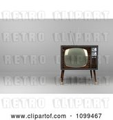 Clip Art of Retro 3d Box Television with Wood Veneer on Gray with Copyspace to the Left by Stockillustrations