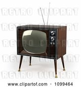 Clip Art of Retro 3d Box Television with Wood Veneer on White by Stockillustrations