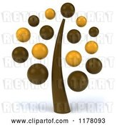 Clip Art of Retro 3d Brown and Yellow Tree by Julos