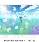 Clip Art of Retro 3d Carefree Happy White Lady in a Bikini, Wading in Water off of a Tropical Beach and Standing with Arms Open, with Flares by KJ Pargeter