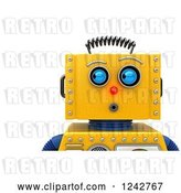 Clip Art of Retro 3d Closeup Face View of a Surprised Yellow Robot Looking to the Side by Stockillustrations